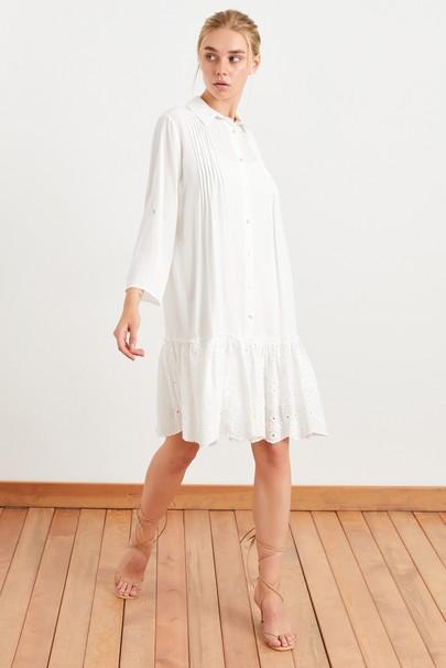 Brode Detaylı Nervürlü Gömlek Elbise