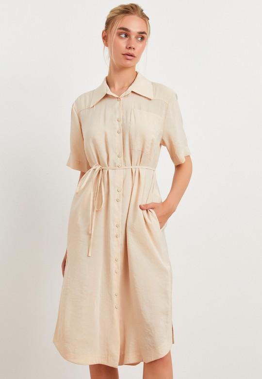 Düğmeli Gömlek Elbise