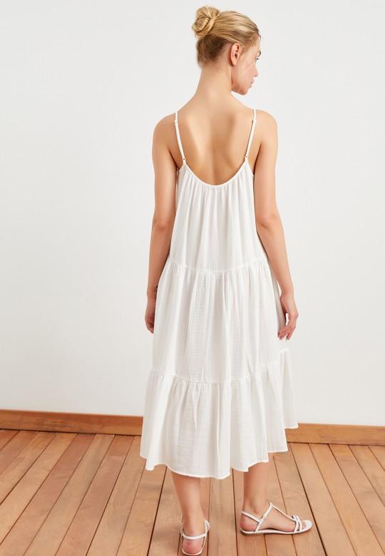 İnce Askılı Volanlı Elbise