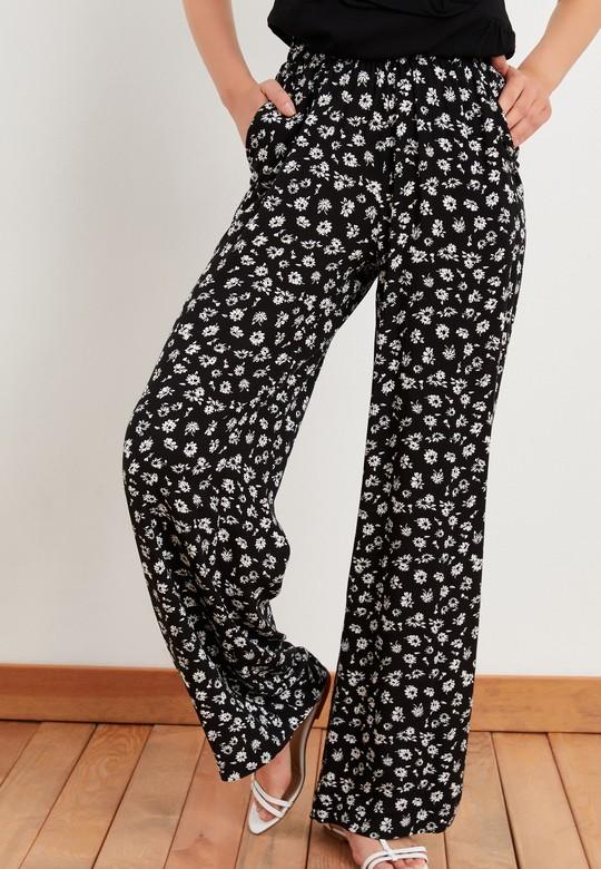 Beli Lastikli Desenli Krep Pantolon