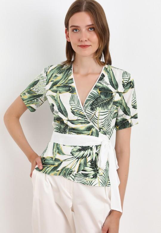 Kruvaze Bağlamalı Desenli Bluz