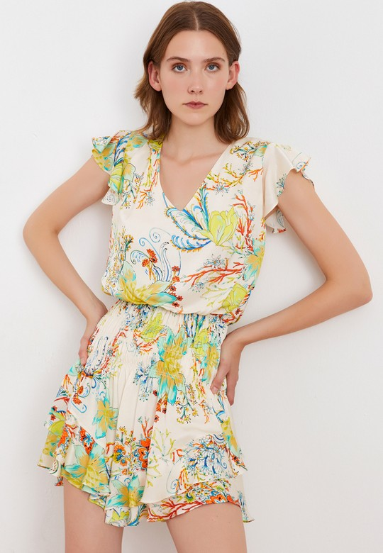 V Yaka Beli Gipeli Mini Elbise