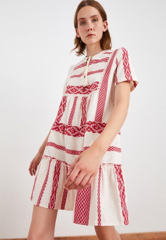 Etnik Desenli Kısa Kol Elbise