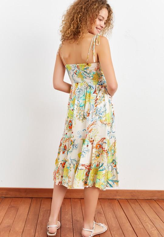 Büzgülü İp Askılı Yırtmaçlı Elbise