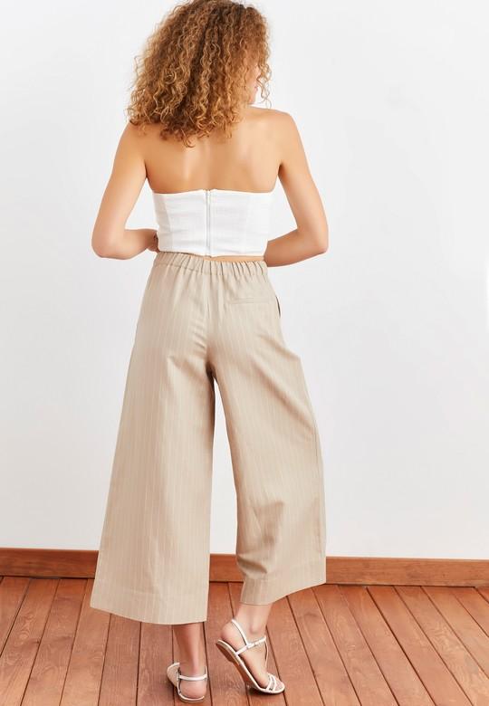 Çizgili Keten Crop Paça Pantolon