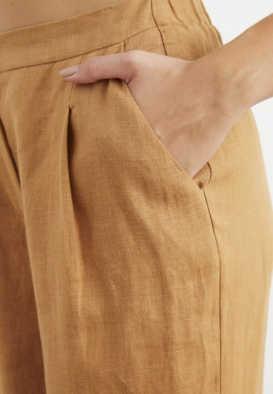 Crop Paça Keten Pantolon
