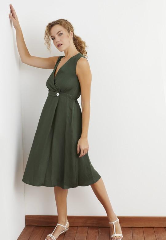 Düğme Detaylı Kruvaze Elbise