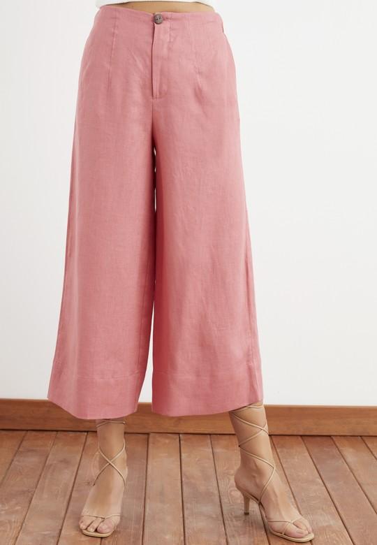 Yüksek Bel Pensli Keten Pantolon