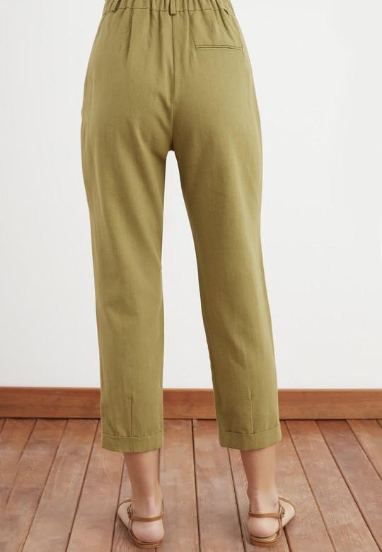 Duble Paça Keten Pantolon