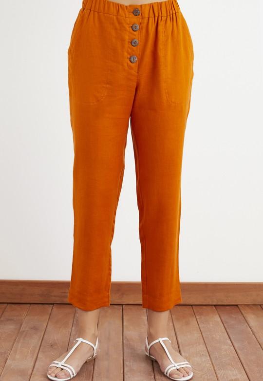 Düğmeli Keten Pantolon