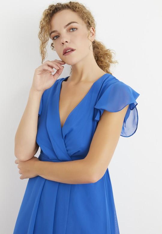 Pile Detaylı Şifon Elbise